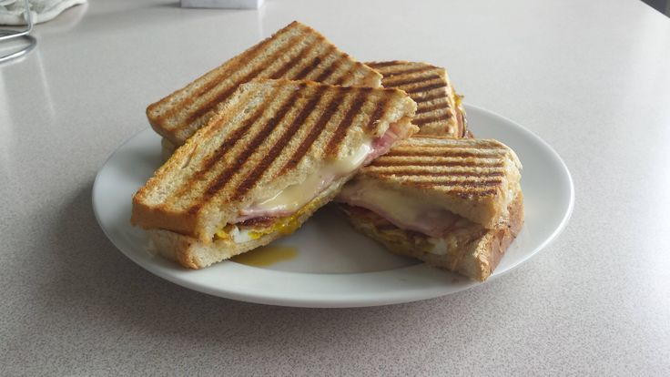 [I ate] homemade breakfast toast with ham bacon cheese and eggs. Buttered on both sides and put in a panini grill