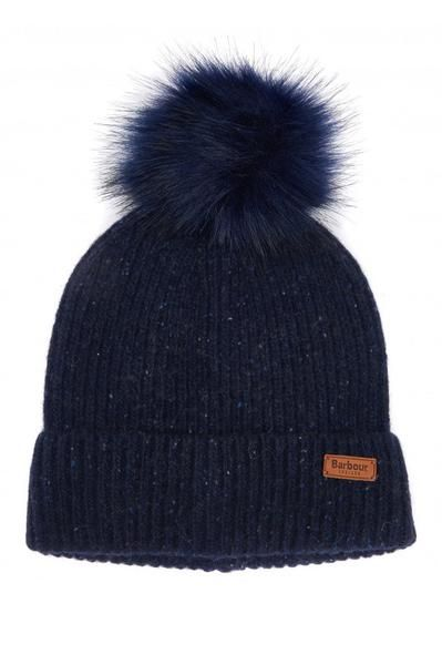 f0647e345b90b Smyths Barbour Women s Weymouth Pom Beanie Hat - Navy - LHA0359NY91 crafted  in textured neppy yarn