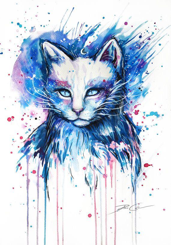 Espacio gato firma Art Print por PixieColdArt en Etsy