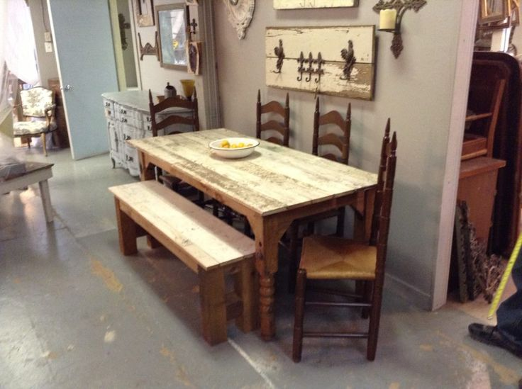 This awesome table with a bench and 4 ladder back chairs! Table & bench built by Dumpster Diva! https://www.facebook.com/pages/Dumpster-Diva/265520813490127