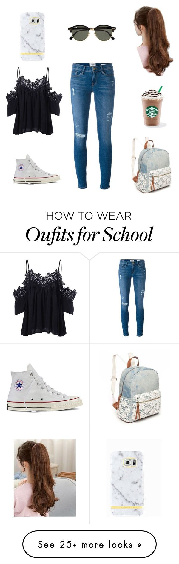 """Back to school📚 in Summer🌞"" by cheesecake28 on Polyvore featuring Frame Denim, Ray-Ban, Converse, Red Camel and Richmond & Finch"