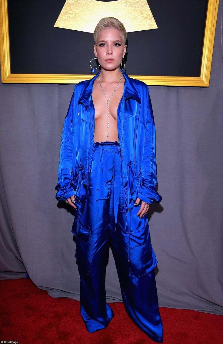 Living on the edge: Singer Halsey really let it all hang out in this set of high-waisted satin pajamas