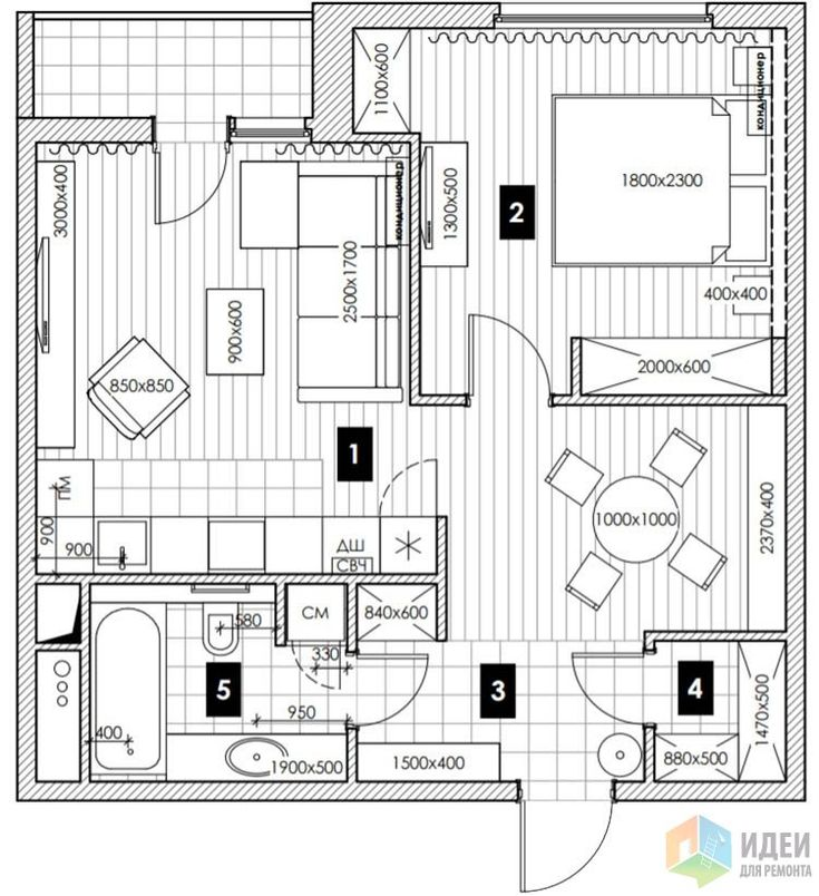 Квартира для жизни, 55 кв м