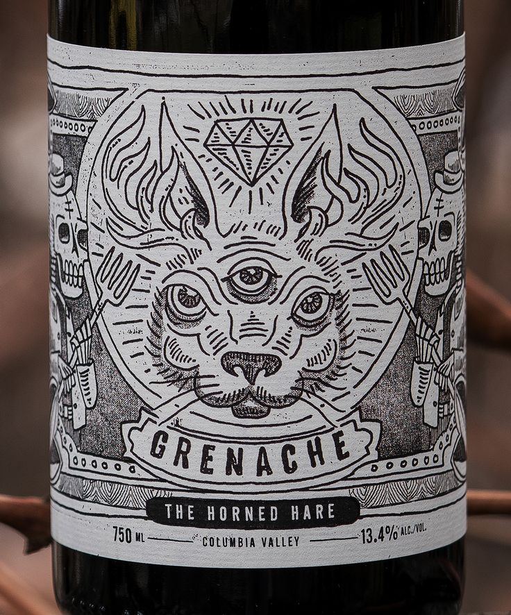 A label illustration and design for Split Rail Winery's Grenache - The Horned Hair.