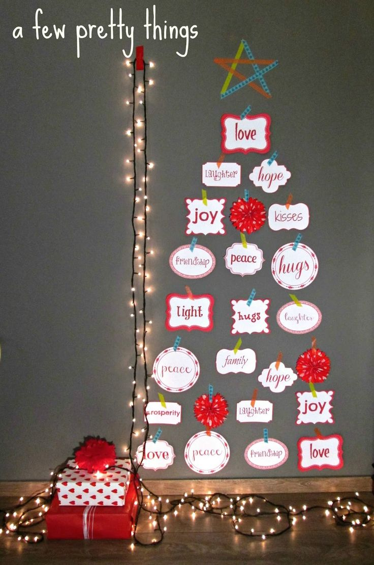 A different and easy to do Christmas tree made of printed labels and washi tape. Cute!