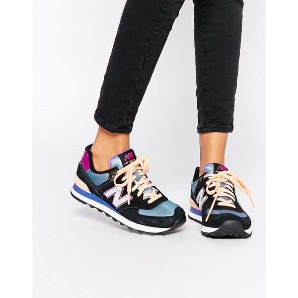 New Balance 574 Multi Colour Trainers (1 460 ZAR) ❤ liked on Polyvore featuring shoes, sneakers, multi, multi color shoes, colorful shoes, multicolor sneakers, leather shoes and leather lace up sneakers