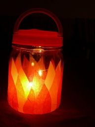 Kids Camping Lantern  perfect for night hikes    You will need   A plastic jar with lid  handle   Tissue paper in orange yellow and red  White glue  A battery operated tealight   i want to tweak this and use can luminaries with the tea light