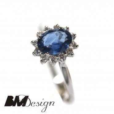 Pierścionek zaręczynowy z diamentami i szafirem  Rzeszów  Pierścionek zaręczynowy Rzeszów BM Design BM RzeszówBM Rzeszów