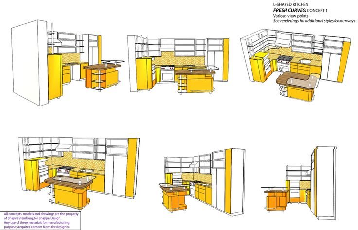 3D modern style kitchen cabinet design, viewed from six perspectives. See more of my work at www.shaype.ca