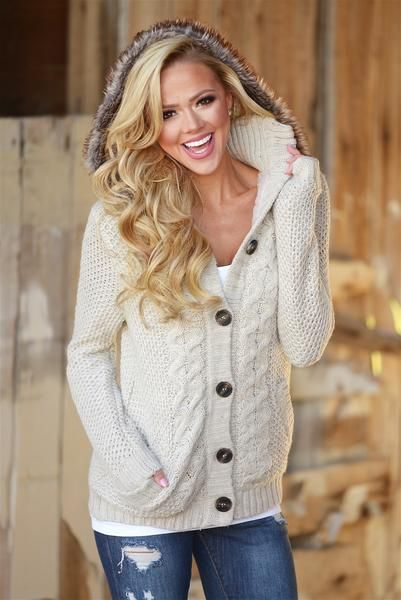 Love You Forever Knit Hooded Sweater - Oatmeal