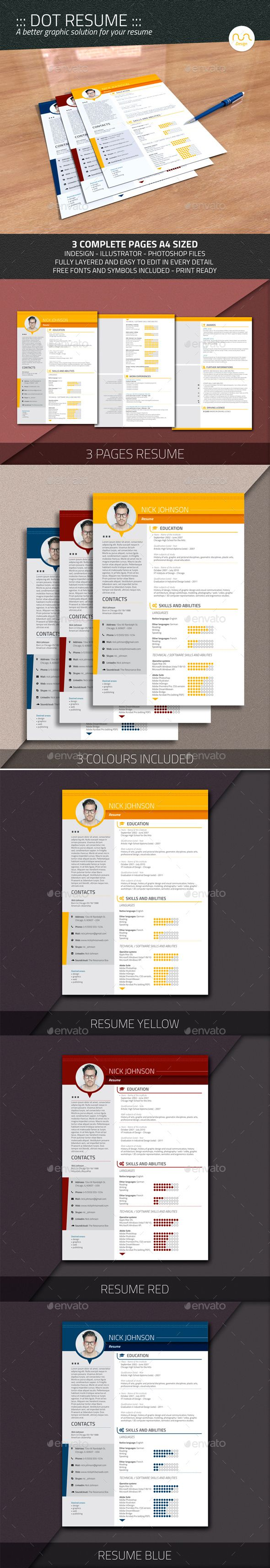 dot resume template psd  indesign indd  ai illustrator
