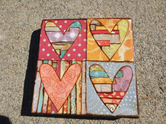 Mixed media heart collage on canvas