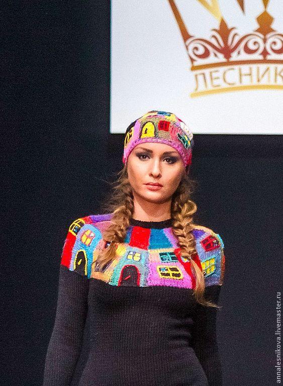 """Купить Платье """"Домики Хундертвассера"""" - черный, рисунок, Анна Лесникова, дизайнерская одежда, дизайнерское платье"""