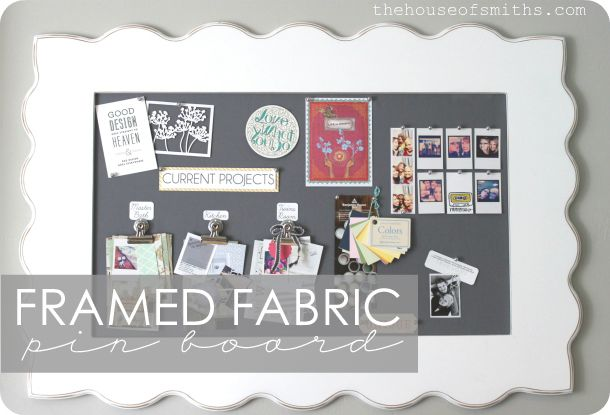 Framed Fabric Pin Board. The House of Smiths - Home DIY Blog - Interior Decorating Blog - Decorating on a Budget Blog