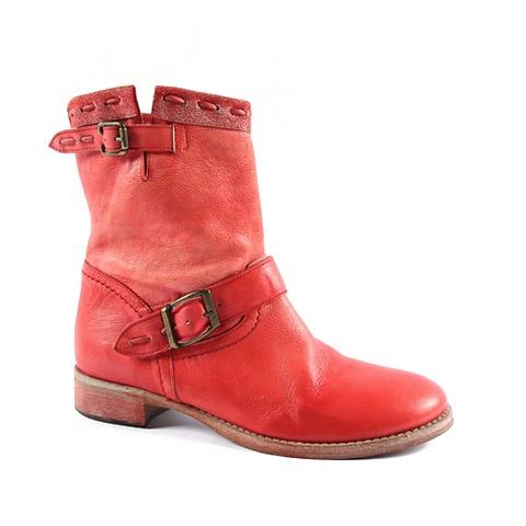Ankle Boot  Upper: Leather/ Tissue  Colors: Red, Orange, Dark Brown, Beige