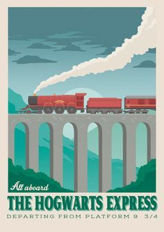 Hogwarts Express. Platform 9 3/4. Harry potter poster. KingCross Station. Train poster. Vintage railway. Retro travel poster. Hogsmeade. Ravenclaw wallart. Downloadable gift. Diagon Alley. Hogwarts Painting. Inspired movie Inspired Harry Potter movie poster. This design is suitable