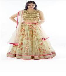Buy Cream embroidered NET Semi-stitched lehenga-choli ghagra-choli online