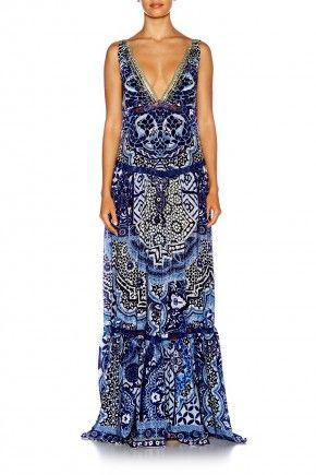 UNDER THE MEDINA MOON TIERED GATHERED VNECK DRESS $679