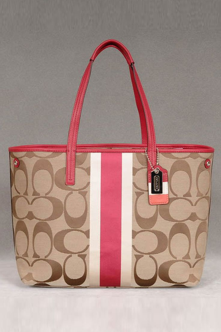 Coach Hamptons Weekend Signature Stripe Tote In Khaki & Berry.