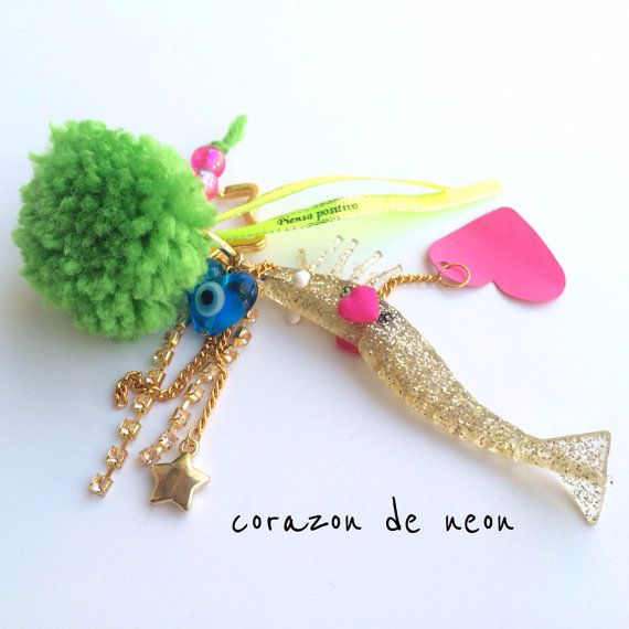 Fishy keychain by corazondeneon on Etsy, $26.00
