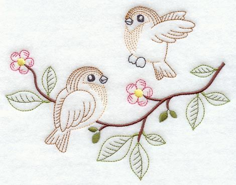 Vintage-Stitch Sparrow Duo