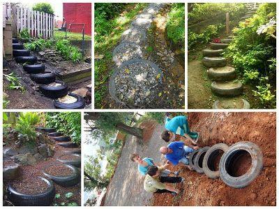 Eco ideas y reciclaje neum ticos reciclados para for Modelos de jardines pequenos con llantas