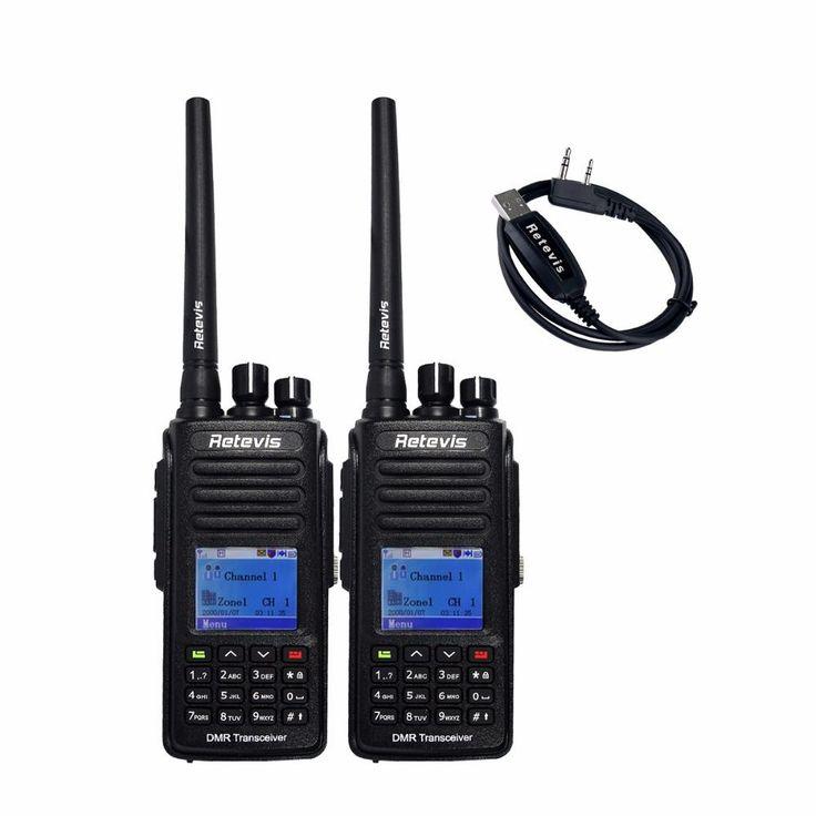 2pcs IP67 Waterproof GPS DMR Digital Walkie Talkie Retevis RT8 5W VHF/UHF 1000CH Handy Portable Radio Set+A USB Cable A9115