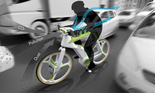 Air purifying bike! Concept - bicicleta faz fotossíntese e purifica o ar em sua volta