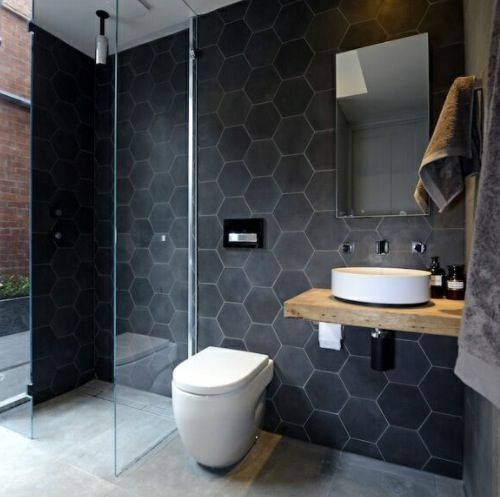 Masculine bathroom hexagon tile wall