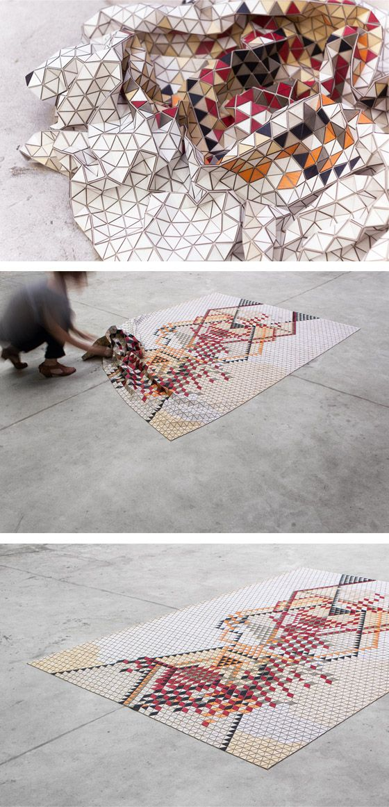Coloured Wooden Rugs by Elisa Strozyk inspired G.Levin / Touch of Eden 8 http://fqoto.com/ss2014-090-touch-of-eden-8.html