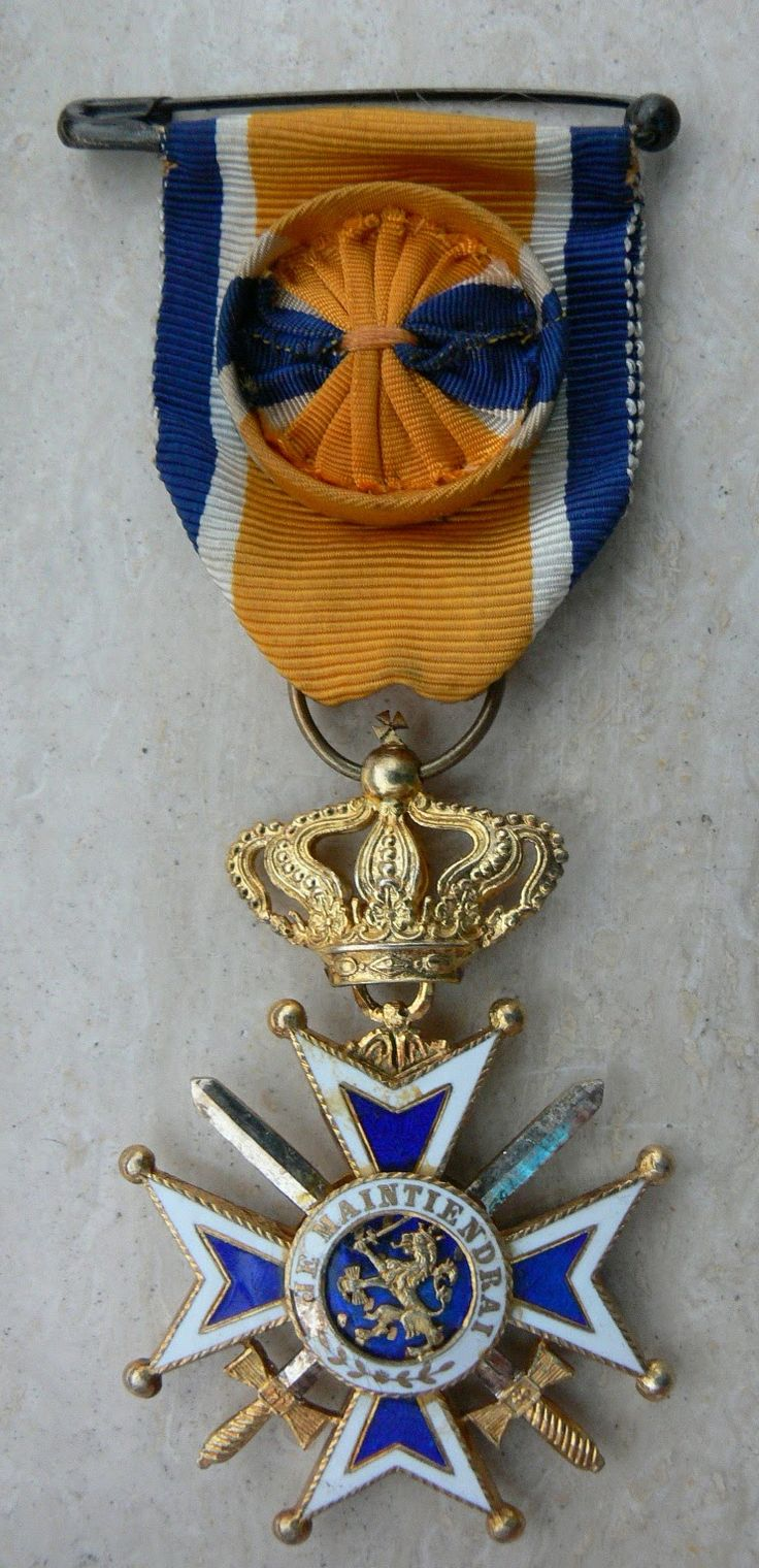 ORANGE NASSAU OFFICERS CROSS WITH SWORDS PORTUGESE MADE WW-2