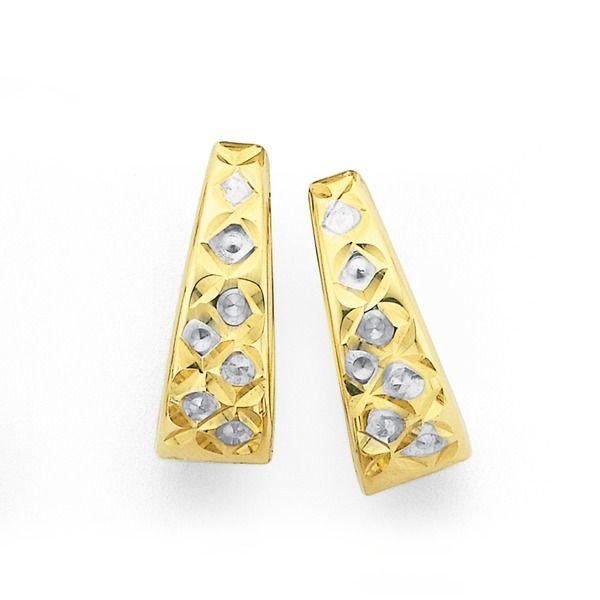 9ct Gold Two Tone Huggie Earrings