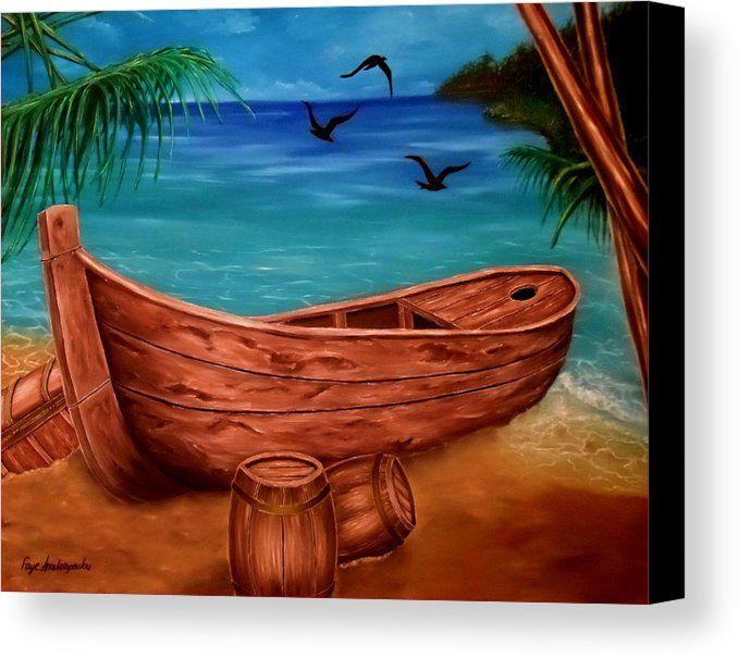 Canvas Print,  piratic,coastal,scene,boat,nautical,marine,tropical,sea,shore,beach,old,wooden,palmtrees,island,sandy,summer,multicolor,colorful,blue,beautiful,image,fine,oil,painting,contemporary,scenic,modern,virtual,deviant,wall,art,awesome,cool,artistic,artwork,for,sale,home,office,decor,decoration,decorative,items,ideas,fine art america