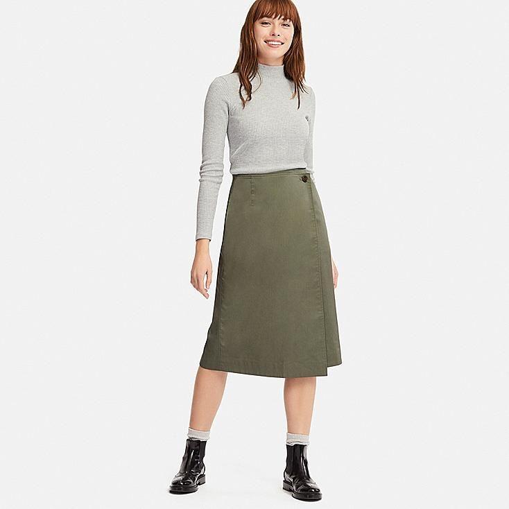 03505d26ad WOMEN HIGH-WAIST WRAP NARROW SKIRT, OLIVE, large | Fashion | Skirts ...
