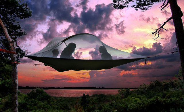 The ground is for suckers. These awesome tents are portable tree forts!  Climb in from below on a rope ladder that you then take into the tent with you.