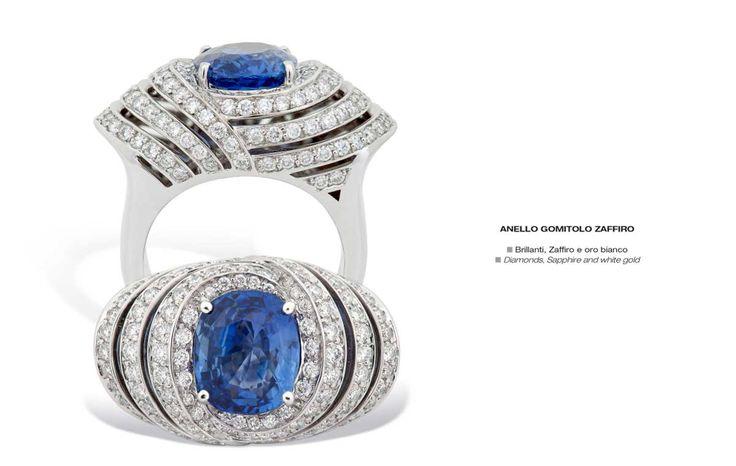 Anello Gomitolo Zaffiro - Diamonds, Sapphire and white gold - Brillanti, Zaffiro e oro bianco #jewelry #gioielli #luxury #madeinitaly #classic