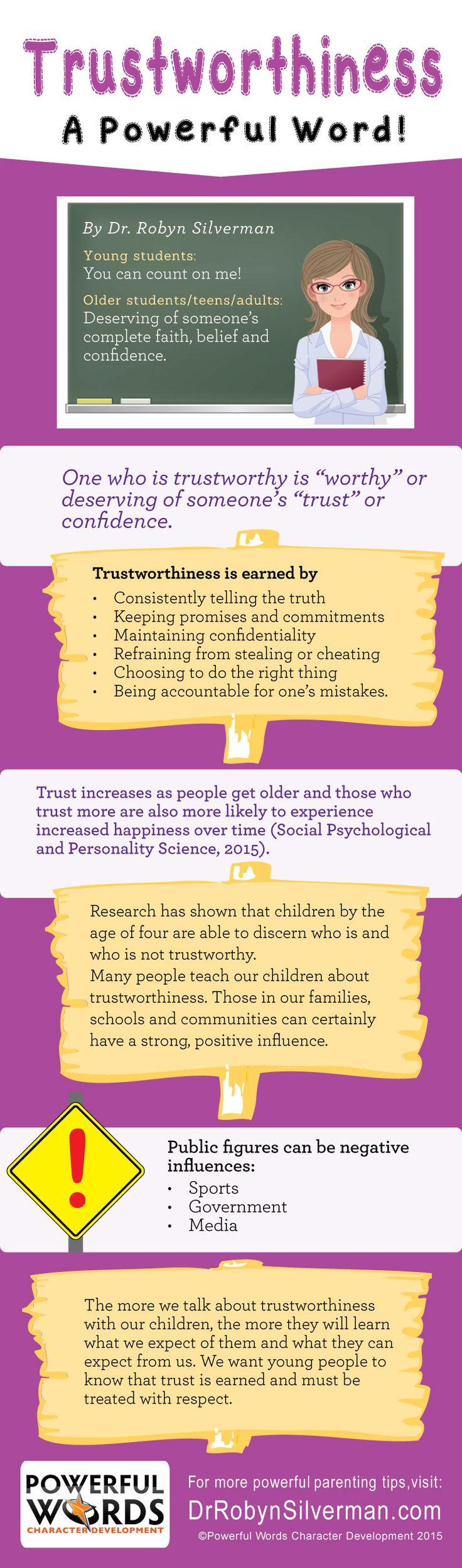 Trustworthiness--A Powerful Word for June #drrobyn #characterdevelopment #parenting