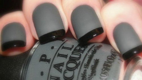 OPI Smoke & Ash Reverse Matte Tuxedo Manicure ~ Nein! Nein! Nein! OK Fine!, Black Onyx, Matte Top Coat Nail Polish With easy instructions
