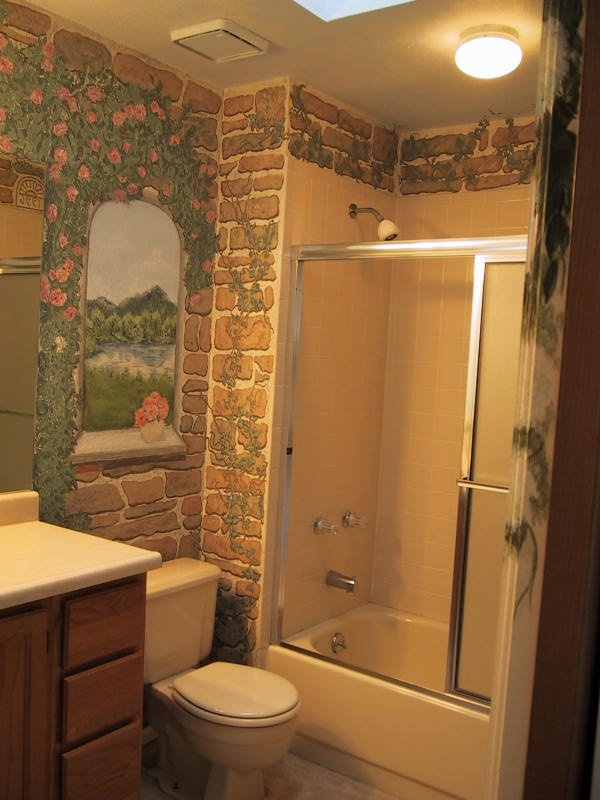 Bathroom With Faux Painted Stone Walls   This Was My Bathroom Artwork In  Colorado