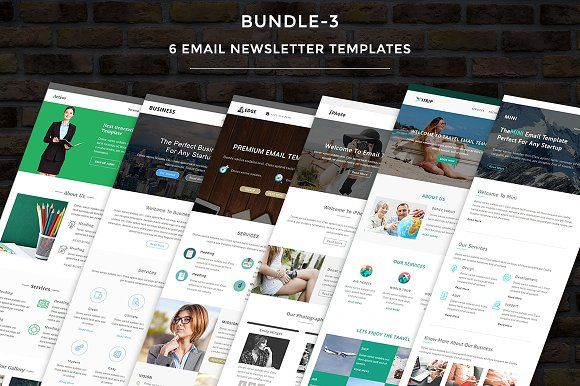 6 Email Templates Bundle-3  by pennyblack on @creativemarket  #email #templates #newsletters #signatures #letters #Photoshop #website #web #websitedesign #seo #design #logo #font #free