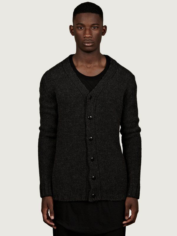 Rick Owens Men's Grey Short Cardigan | oki-ni