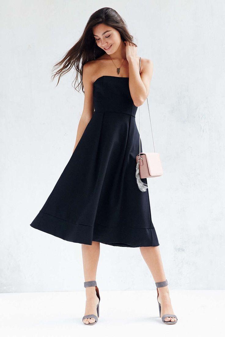 Black dress bridesmaid - Silence Noise Strapless Ponte Midi Dress