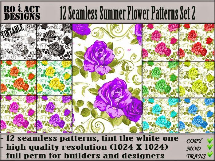 Ro!Act Designs 12 Seamless Summer Flower Patterns Set 2