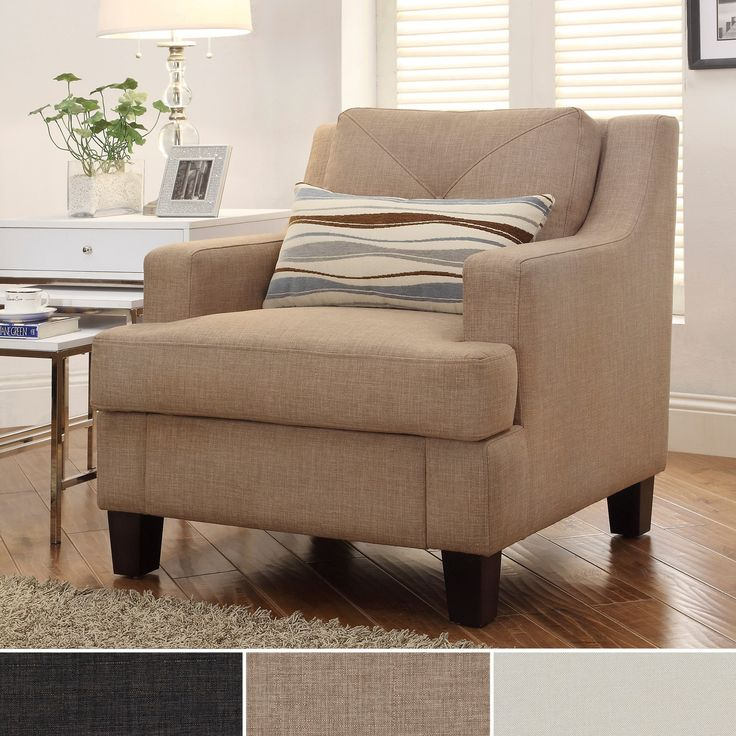 Complete your living room decor with the elegant Cameron sloped armchair. Featuring a tufted back and beautiful light brown finish, this piece is filled of a high density foam with an innerspring core to distribute weight evenly. Pillows sold separately.