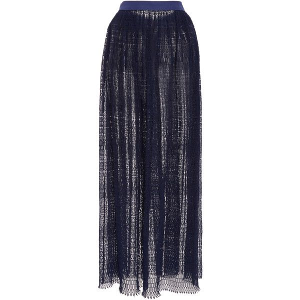 Thierry Colson Sissi Long Skirt ($1,150) via Polyvore featuring skirts, navy, lace skirt, floor length skirt, long lace skirt, navy maxi skirts and lace maxi skirts