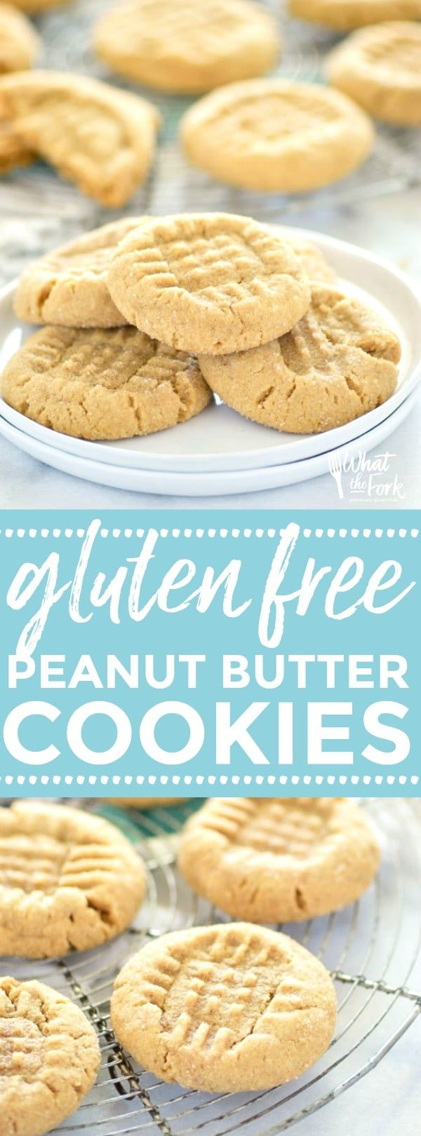 Gluten Free Peanut Butter Cookies - these classic cookies are one that everybody loves! They're easy to make too! Recipe from @whattheforkblog | whattheforkfoodblog.com | gluten free cookie recipes | easy gluten free cookies | gluten free dessert recipes