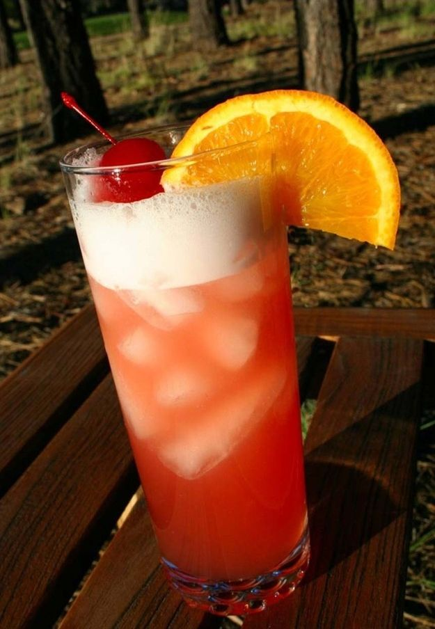 Sex On The Beach 1 1/2 oz vodka 1/2 oz peach schnapps 2 oz cranberry juice 2 oz orange juice  Add vodka and peach schnapps to a highball glass over ice. Fill with equal measures of cranberry juice and orange juice, and stir.
