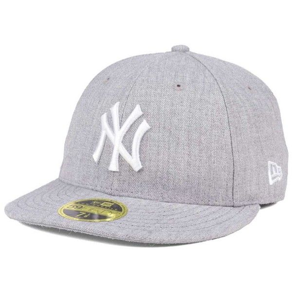 New Era New York Yankees Low Profile C-dub 59FIFTY Fitted Cap (280 SEK) ❤ liked on Polyvore featuring accessories, hats, heather gray, new era hats, new era cap, ny yankees cap, yankee fitted hats and new york yankees fitted hat