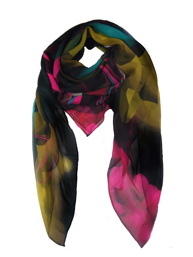 Modern Love Silk Georgette scarf in Pearl Multi