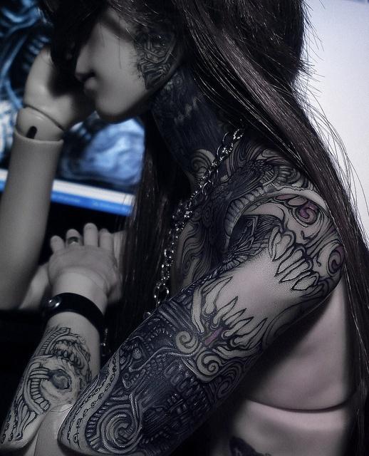 BJD tattoo, arm sleeve + neck | BJD Inspirations ...